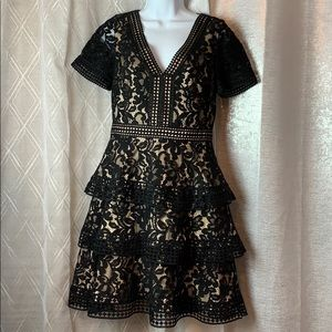 NWT - s/s black lace party dress sz 6